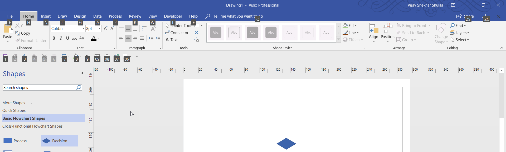 Press Alt to navigate Visio through keyboard