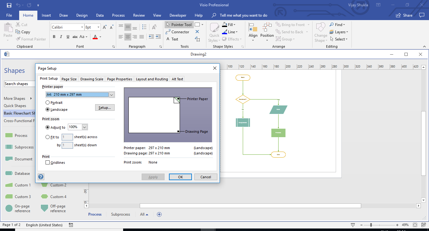 Open Page Setup Dialogoue Box in Visio  Press Keys Shift + F5